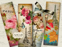 PARIS BOOKMARKS - Digital Collage Sheet/ Printable Download/ Ephemera Vintage Paper Craft Images