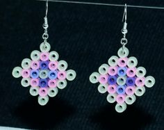 Party Time Perler Bead UV Reactive Earrings in Purple Pink and White - Gift Under 10