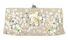 Moyna Beaded Shell Flower Clutch in 4 Colors