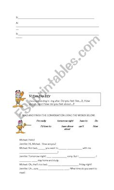 A set of exercises that help students master the most frequent expressions used to make invitations, accept and refuse them.