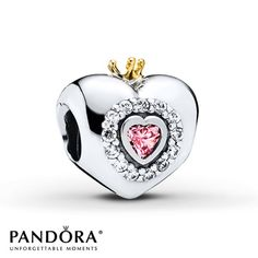 """With """"Princess"""" on one side and a heart-shaped pink cubic zirconia framed in sparkling clear cubic zirconias on the other, this delightful sterling silver charm from the Pandora Autumn 2014 collection makes any girl feel special. A 14K yellow gold crown tops the charm to complete the look. Style # 791375PCZ. #MyCharm"""