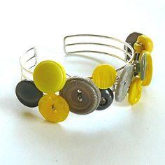 yellow gray button bracelet