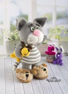 Knitting Patterns Toys Knitted toys of Nadezhda Biyanova Crochet Animal Amigurumi, Crochet Animal Patterns, Crochet Bunny, Stuffed Animal Patterns, Cute Crochet, Amigurumi Doll, Crochet Animals, Crochet Crafts, Crochet Projects
