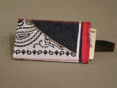 Denim business/credit card holder with Bandana trim (View 3)