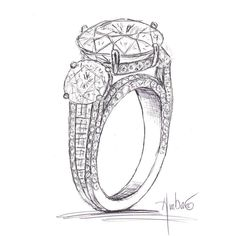 Free Hand Drawing of Custom Trio Engagement Ring