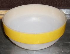 """Fire King Milk Glass / Yellow Band / """"Colonial Band"""" Pattern Mixing Bowl on Etsy, $15.50"""