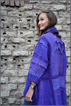 """Купить Пальто """"Василек"""" - тёмно-фиолетовый, абстрактный, пальто, пальто женское, Пальто ручной работы"""