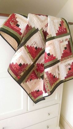 Summer Log Cabin Quilt Pattern PDF Easy Quilting Scrappy Watermelon Lap Blanket Wall Hanging Home Decor Patriotic Download