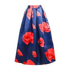 2016 Spring Maxi Long Ball Skirt European Fashion Flower Printing Satin  Pleated Tutu Swing Ankle Length 8943873361