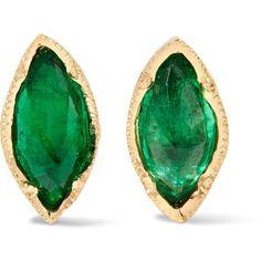 Brooke Gregson 18-karat gold emerald earrings ($1,750) ❤ liked on Polyvore featuring jewelry, earrings, gold, earring jewelry, 18 karat gold jewelry, stud earrings, 18k earrings and emerald jewelry