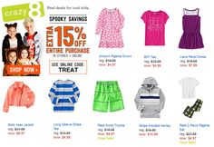 Woohoo! The Crazy Good Sale at Crazy 8 just got even crazier! Enter code TREAT at checkout for an extra 15% off! They have pajamas, boys swim trunks, and lots of shirts available for just $4.97-$4.…
