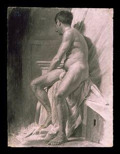 Desnudo masculino  visto en escorzo lateral. Colección de Bellas Artes, Universidad Complutense de Madrid.
