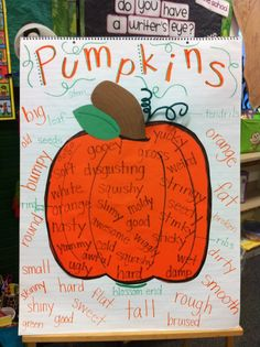 pumpkins - October social studies unit and adjectives, use to write descriptive paragraph                                                                                                                                                                                 More