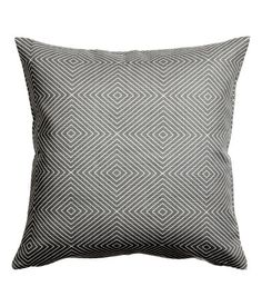 Gray. Cushion cover in slub-weave cotton fabric with a printed pattern. Concealed zip.