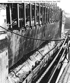 Port side view of torpedo damage, received by USS West Virginia, at Pearl Harbor (note armor belt).
