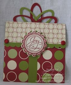 Stamp & Scrap with Frenchie: Oval Punch make a Bow for Gift Card Holder Plus More