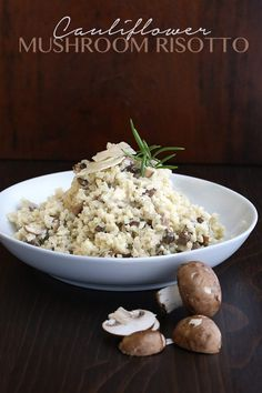 This cauliflower rice mushroom risotto is the best low carb side dish! Check out my how-to video to see how quickly this keto recipe comes together. Delicious! Healthy Recipes, Ketogenic Recipes, Low Carb Recipes, Diet Recipes, Vegetarian Recipes, Flour Recipes, Dessert Recipes, Cauliflower Mushroom, Cauliflower Risotto