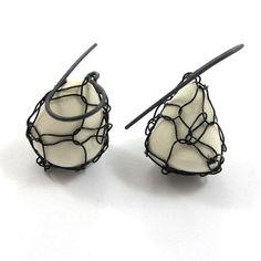 OOAK  Porcelain Earrings Knitted Earrings  Free by SariGlassman, $46.00