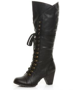 Chelsea Crew Zora Black Lace-Up Knee High Heel Boots  $93.00