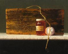 Honey, Egg, Wood and String Daniel Brown oil   12x10