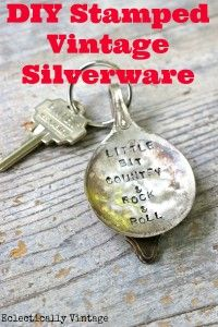 How to Stamp Vintage Silver & a DIY Spoon Keychain - Eclectically Vintage