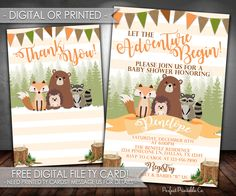 Woodland Invitation, Woodland Baby Shower Invitation, Woodland Animal Invitation, Forest Animal Invitation, Digital File or Printed #540 by PerfectPrintableCo on Etsy