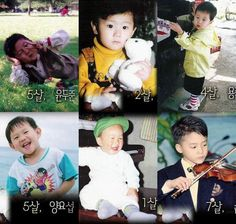 Picture of B2ST as kids, Top L to R: DooJoon, Hyunseung, Junhyung  Bottom L to R: YoSeob, Ki Kwang, Son DongWoon