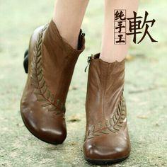 春秋文艺复古短靴羊皮高跟粗跟及裸靴手工女靴复古真皮女鞋原创靴-淘宝网