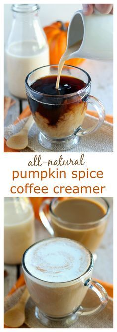 All-Natural Pumpkin Spice Creamer - Homemade pumpkin spice coffee creamer made with all natural ingredients and no refined sugar. Filled with subtle flavors of pumpkin warm spices and vanilla and sweetened with maple syrup. Dairy Free Coffee Creamer, Pumpkin Spice Creamer, Homemade Coffee Creamer, Coffee Creamer Recipe, Pumpkin Spice Coffee, Spiced Coffee, Drink Coffee, Coffee Enema, Coffee Coffee