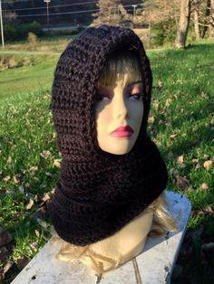 Scoodie, Hat Scarf Combination, Black Crochet, Handmade on Etsy, $45.00