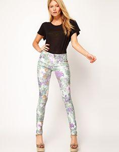 these ASOS Skinny Jeans In Floral Gerbera Print
