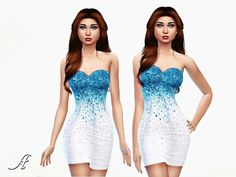 Icy Dress by Apathie at TSR via Sims 4 Updates