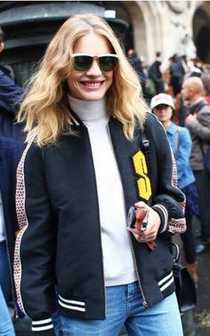 Natalia Vodianova, in Stella McCartney jacket w/ Louis Vuitton shoes, at PFW SS15