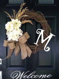 Fall Wreath - Autumn Wreath - Harvest Wreath - Wheat , Hydrangea , Mum , Cream flowers , Monogrammed , Late Summer Wreath , Country Wreath on Etsy, $55.00