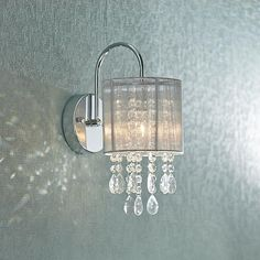 """Possini Euro Silver Line 12""""H Chrome and Crystal Sconce"""