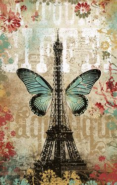 In this design, butterfly wings adorn the Eiffel tower, a whimsical touch to a French icon! I created  a vintage flare by adding funky floral and antique colors.