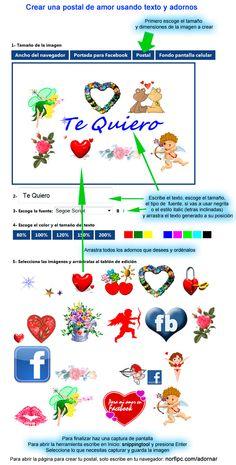 Crear una postal de amor para Facebook usando texto y adornos. Infografía que muestra cómo usar la página de nuestro sitio en la que podrás crear de forma sencilla postales de amor y de amistad para compartir con tus amigos.