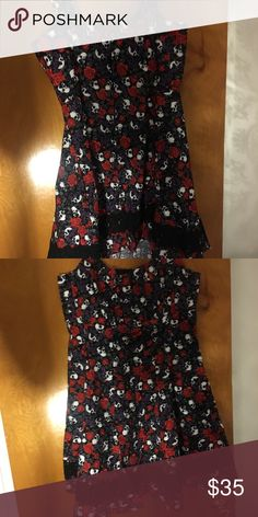 2445ca4af1a Hot topic skull and roses dress size xxl NWT Hot topic purple and red skull  rose