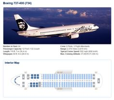 ALASKA AIRLINES BOEING 737-400 AIRCRAFT SEATING CHART