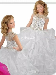 White Ball Gown Long Girls Pageant Dresses for Teens Puffy Organza Crew Neckline Beaded 2017 Custom Made Wedding Flower Girl Dresses Cheap Girls Pageant Dresses Cheap Flower Girls Dresses Online with $96.0/Piece on Sweet-life's Store | DHgate.com
