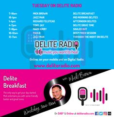 Look at today's line up on Delite Radio!   Tune in to listen to the music you want to hear!   Online, on your mobile and on Digital Radio - www.deliteradio.com Tony Jay, Dab Radio, Drive Time, Vinyl Collectors, Digital Radio, Internet Radio, Played Yourself, Soul Music, Dance Music
