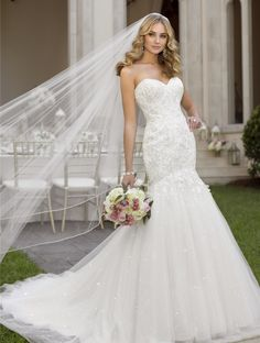 Sequined Sweetheart Lace Mermaid Wedding Gown