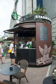 Feb You Call It Starbucks,But I Call It Love. See more ideas about Recipes, Starbucks coffee and My coffee shop. Container Hotel, Container Coffee Shop, Cafe Shop Design, Kiosk Design, Signage Design, Small Coffee Shop, Coffee Store, Coffee Carts, Coffee Truck