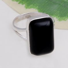 925 STERLING SILVER AMAZING BLACK ONYX RING 6.65g DJR4423 #Handmade #Ring