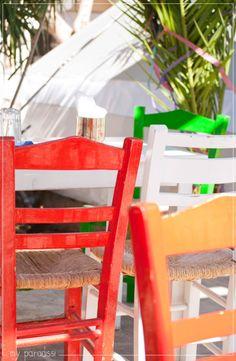 Colorful chairs in Agios Nikolaos, Crete