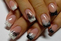 New French Manicure Designs | новый дизайн ногтей френч с бантиками ...