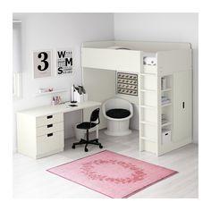 STUVA Loft bed with 3 drawers/2 doors, white white Twin