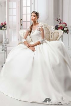 Designer 2015 Fall Sexy With Lace Ball Gowns Wedding Dresses Sheer Long Sleeves Bridal Gowns Modest Cheap Formal Wedding Gowns #dhgatePin