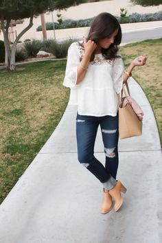 Ivory and Lace Peasant Blouse, Distressed Skinny Jeans, Tan Mules, Tan Tote, Anthropologie, AG Jeans, Dolce Vita, JCrew 13