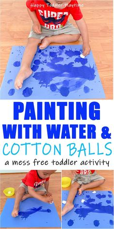 Painting with Water & Cotton Balls - HAPPY TODDLER PLAYTIME Painting with water and cotton balls is a fun and mess free twist on a classic toddler activity. It's also a super easy way to entertain your toddler! Source by and me activities Toddler Learning Activities, Games For Toddlers, Infant Activities, Preschool Activities, Kids Learning, Cotton Ball Activities, Art With Toddlers, Painting With Toddlers, Sensory Play For Toddlers
